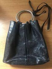 New Sergio Rossi Lizard Skin Exotic Leather Handbag Bag Evening Black Clutch