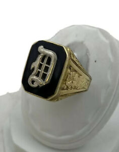 ANTIQUE 10K Gold 5.6 Grams Onyx D Initial Signet Ring Size 9.75 Beautiful Detail