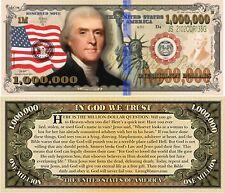 Lot of 25 Jefferson Million Dollar Bill Funny Money Gospel Tract Novelty Notes