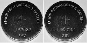 2 x  LIR2032 Li-Ion Rechargeable 3,6V Akku Knopfzelle CR2032 wiederaufladbar Eun