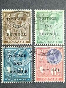 1928 Malta King George V & Coat Of Arms Overprint Postage And Revenue - 4v Used