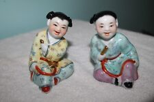 Pair of Chinese Famille Rose Porcelain Boy & Girl Figurines