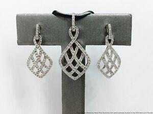 Platinaire Sterling Silver & Platinum w/ 228 Diamond Fashion Earrings & Pendant