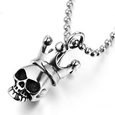 MENDINO Men's 316L Stainless Steel Pendant Necklace King Crown Skull Head Silver