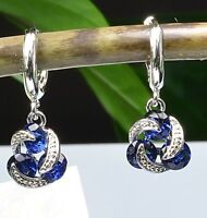 18K White Gold GP Cute Hoop Earrings Blue Sapphire Swarovski Crystals Beauty