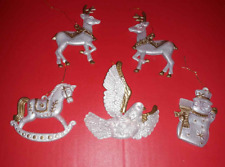 Vintage Frosted & Gold Chrismas Ornament Lot 5 - Snowman Reindeer Rocking Horse