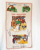 Vintage Australian Pure Linen Hand painted The Shearers Country Tea towel Unused