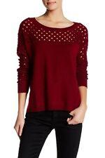 NWT $275 THE KOOPLES Women's Maroon Openwork Merino Wool Sweater Sz 2
