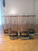 Vintage Culver 22kt Gold and Black Set of 4 Tall Cooler Glasses Devon Black 15oz