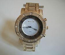 Men's big gold finish hip hop metal bracelet fashion dressy/casual watch