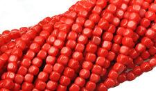 100 Opaque Red Czech Glass Cube Beads 3MM