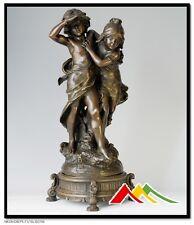 stunning bronze statue, boy and girl 2 kids bronze sculpture
