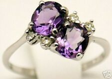 Women 14k Ring, 2.6 cts Amethyst 0.13 ct Diamond Sz 7