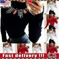 Women Hollow Beads High Neck Choker Tops Long Sleeve Slim Blouse Pullover Jumper