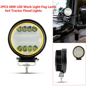 3D Refletor 48W LED Work Light Fog Lamp Truck Off-Road 4x4 Tractor Flood Lights