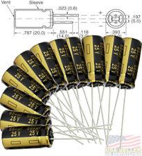 12x Panasonic FM 680uF 25v Low-ESR radial capacitors 5000Hrs @ 105c, 10x20 mm