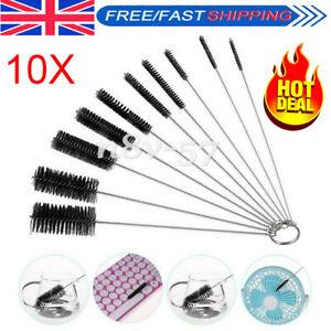 UK Black Bottle Cleaning Brushes, 10Pcs Tube Brush Nylon Bottle Pipe Cleaner Set