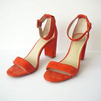 Ann Taylor Size 7M Suede Sandals Ankle Strap Block Heel, Orange Coral Color
