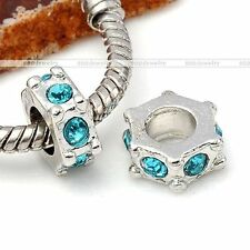 Silvery Crystal Lake Blue European Big Hole Charms Spacer Loose Bead