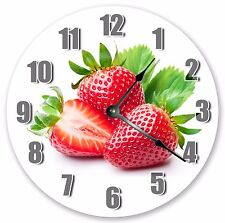 """10.5"""" RED STRAWBERRIES CLOCK - Large 10.5"""" Wall Clock - Home Décor Clock - 3184"""