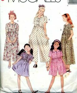 Cut Sewing Pattern Girls Partial Buttoned Jumpsuit Dress Size 7-10 (cut to 10)