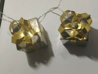 Godinger Ornaments Silver Plated Christmas Presents with Goldtone Bow. Set of 2
