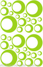 32 LIME GREEN CIRCLE CIRCLE BUBBLE LOOK BEDROOM WALL DECAL STICKER VINYL GIRL