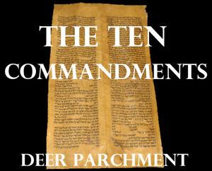 """TORAH SCROLL BIBLE JEWISH FRAGMENT/LEAF 200 YRS OLD TURKEY """"The Ten Commandment"""""""