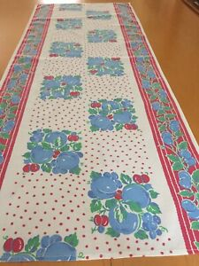 "Vintage Table Runner Just Cotton 42""x17"" Fruit Polka Dots Farm. #79"
