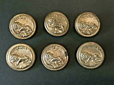 6 XL  Antique Vintage Sleeping Lion Brass? Metal Picture Buttons 1 1/2""