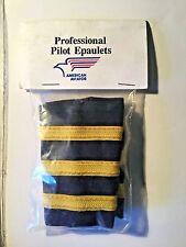3 Bar Professional Airline Pilot Epaulets First Officer. Gold/blue