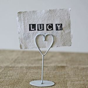 8  x White Heart Place Card Holders - Wedding Name Settings