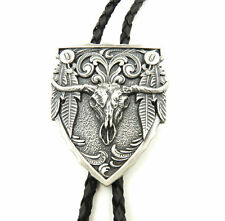 Silver Plated Longhorn Bull Western Cowboy Rodeo Leather Neck Bolo Tie