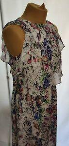 H&M Floral Midi Dress UK10 Ruffle Sleeveless Floaty Boho Summer Meadow Romantic