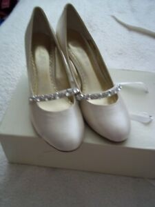 cherished by next ivory/sequined  heeled shoes size 6.5