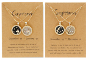 12Zodiac Necklace Day Night Star Sign, Constellation Gold Colour Pendant Gift UK