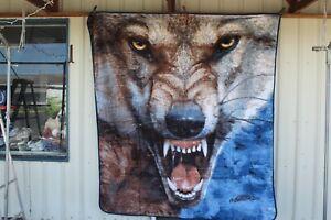 BIG BAD WOLF SNARL SCARY ANIMAL OUTDOOR QUEEN BLANKET