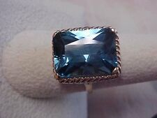 *ESTATE*LARGE 12.00ct LONDON BLUE TOPAZ SOLITAIRE RING 10K YELLOW GOLD sz8.75