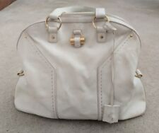 "Yves Saint Laurent Cream Leather GHW ""Large Muse"" Bag Vintage Authentic"