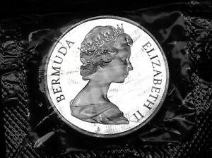 Cameo proof Bermuda dollar 1972 Elizabeth and Philip silver wedding