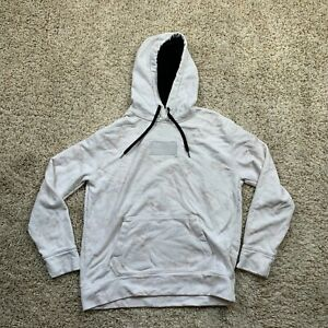 Hollister Hoodie Womens Large White Floral Pullover Long Sleeve Sweater Fleece