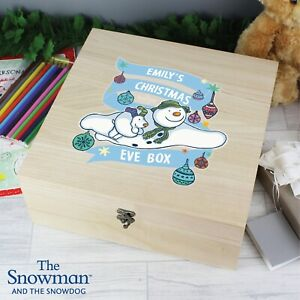 Personalised The Snowman and the Snowdog Large Wooden Christmas Eve Box Xmas