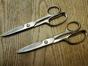 """Lot / 2 Wiss Vintage Inlaid 1DS 8"""" Scissors Industrial Utility Shears USA"""