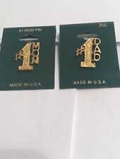 1 Mom And 1Dad Pin Gold Plated Pin , You Will Get One For Mom And One For Dad