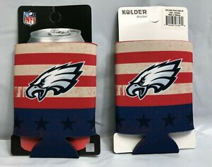 (2) PHILADELPHIA EAGLES USA PATRIOTIC DOUBLE SIDED CAN COOLERS COOZIES FREE SHIP