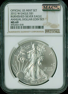 2012-W SILVER EAGLE NGC MAC MS-69 PQ ANNUAL SET 2nd FINEST GRADE MAC SPOTLESS .
