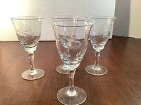 """Set of 4 Vintage Stemmed Cordial Liqueur Elegant Glass Barware Etched Floral 5"""""""