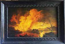 Quadro ERUZIONE DEL VESUVIO -P. JACQUES VOLAIRE olio su tavola oil painting copy