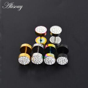 2Pcs Men's Black Silver Barbell Punk Stainless Steel Crystal Ear Studs Earrings