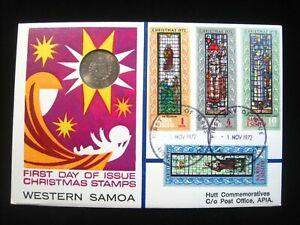 POSTAL FDC WESTERN SAMOA 1972 Christmas Registered Hutt Coin Stamp Philatelic